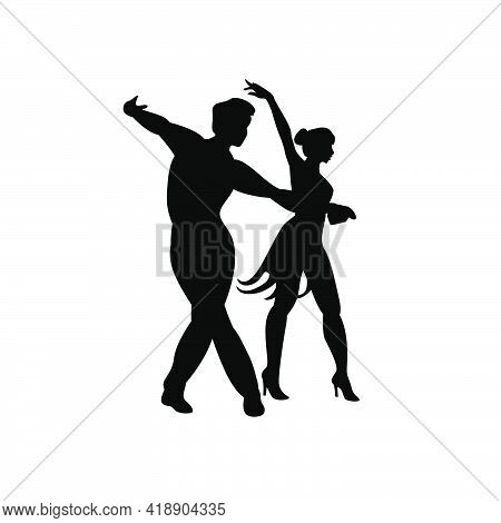 Silhouette Of A Dancing Pair Sporting Latin Classical Dances. Vector Icon