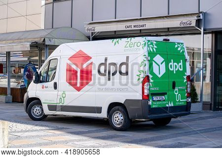 Ostrava, Czech Republic - April 28, 2021: White Citroen Jumper Electric Delivery Van Of Dpd Transpor