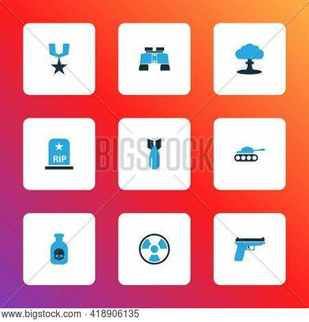 Battle Icons Colored Set With Radiation, Firearm, Panzer And Other Tank Elements. Isolated Vector Il