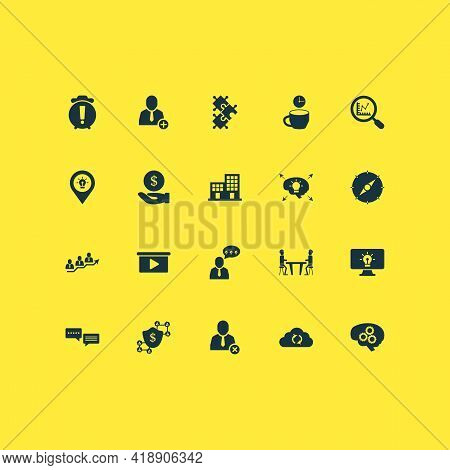 Work Icons Set With Meeting Room, Comments, Brainstorm Process And Other Pinpoint Elements. Isolated