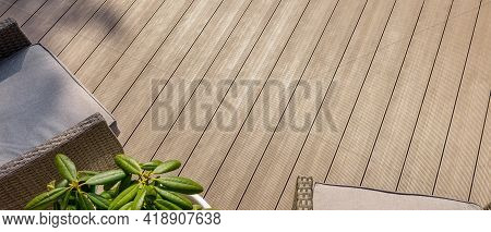Terrace With Wpc Decking Boards. Banner Copy Space