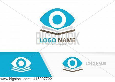 Vector Eye And Library Logo Combination. Unique Bookstore Logotype Design Template.