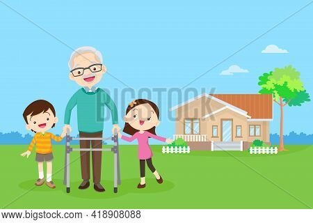 Elderly Walking With House Background. Grandchild Helps Grandfather To Go To The Walker. Kids Caring