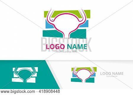 Bladder Logo Combination. Urinary Tract Logotype Design Template. Urology Health Symbol.