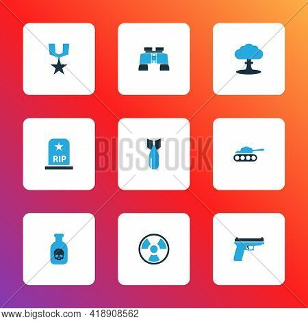 Combat Icons Colored Set With Radiation, Firearm, Panzer And Other Tank Elements. Isolated Illustrat