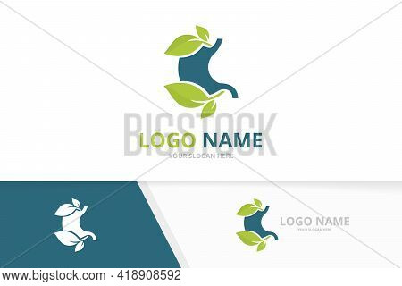 Premium Ecological Stomach And Leaves Logo. Unique Gastrointestinal Tract Logotype Design.