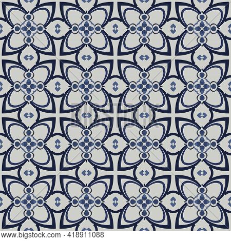 Seamless Illustrated Pattern Made Of Abstract Elements In Light Gray And Shades Of Blue