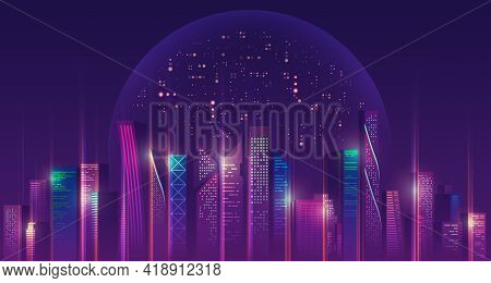 Graphic Of Futuristic City With Outer Space And Purple Planet As A Background