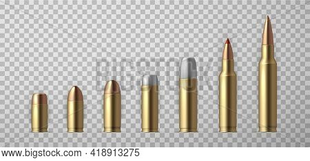 Collection Of Realistic Bullet Vector Illustration. Set Of Weapon Ammo Various Types And Size