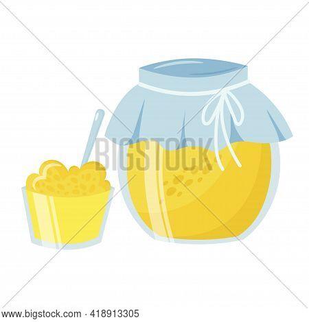 Colorful Jar With Fresh Homemade Lemon Jam Vector Flat Illustration. Appetizing Dessert In Bowl