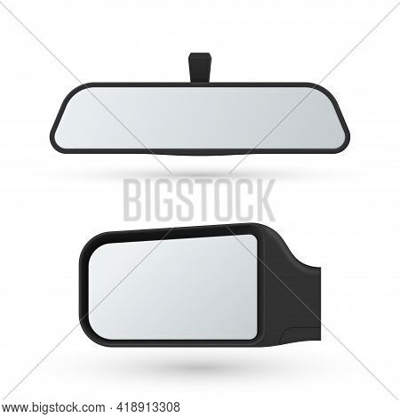 Set Of Automobile Rear View Mirrors Vector Illustration. Back Glass Reflection For Control Behind