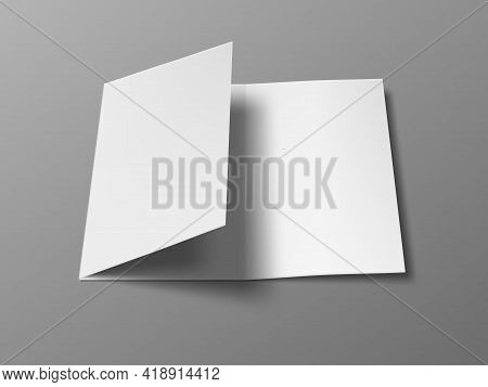 3d A4 Three Fold Blank Brochure Template