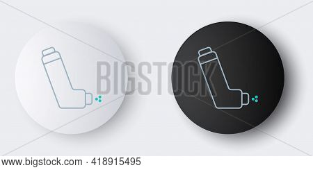 Line Inhaler Icon Isolated On Grey Background. Breather For Cough Relief, Inhalation, Allergic Patie