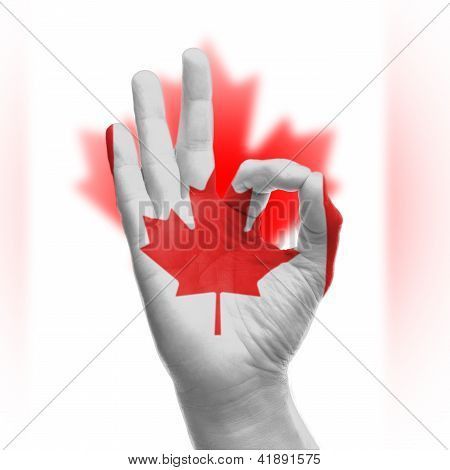 Hand Ok Sign With Canadian Flag