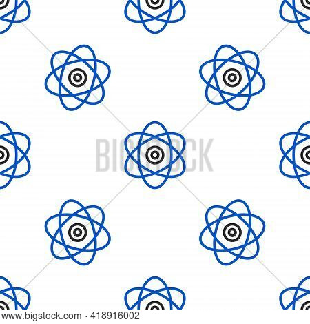 Line Atom Icon Isolated Seamless Pattern On White Background. Symbol Of Science, Education, Nuclear