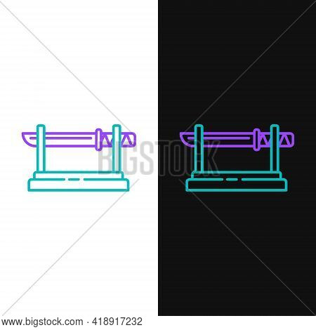 Line Traditional Japanese Katana On A Wooden Stand Icon Isolated On White And Black Background. Japa