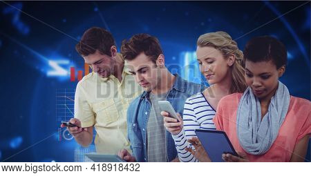Diverse male and female businessmen using smartphones over digital screen with data processing. global technology, data processing and digital interface concept digitally generated image.