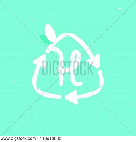 H Letter Logo Inside Reuse Sign In Grunge Linear Style. Flat Design Of Recycling Symbol And Leaves F