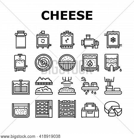 Cheese Production Collection Icons Set Vector. Cheese Preparing Factory Industrial Equipment And Ref