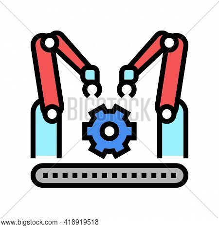 Factory Conveyor Car Color Icon Vector. Factory Conveyor Car Sign. Isolated Symbol Illustration