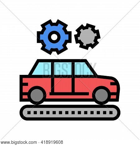 Manufacturing Car Color Icon Vector. Manufacturing Car Sign. Isolated Symbol Illustration