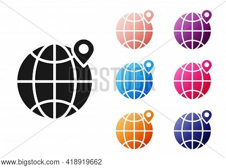 Black Location On The Globe Icon Isolated On White Background. World Or Earth Sign. Set Icons Colorf