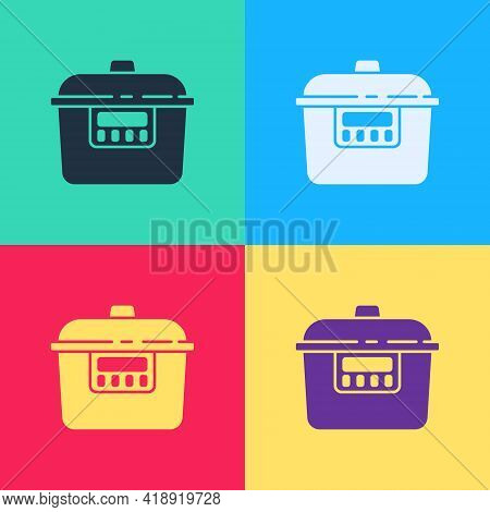 Pop Art Slow Cooker Icon Isolated On Color Background. Electric Pan. Vector