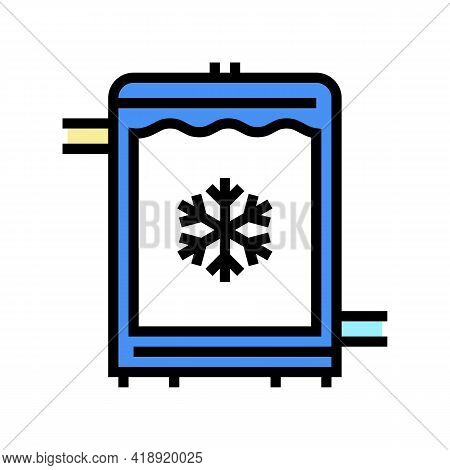 Refrigerator Cheese Production Color Icon Vector. Refrigerator Cheese Production Sign. Isolated Symb