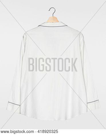 White pajama shirt rear view simple nightwear apparel