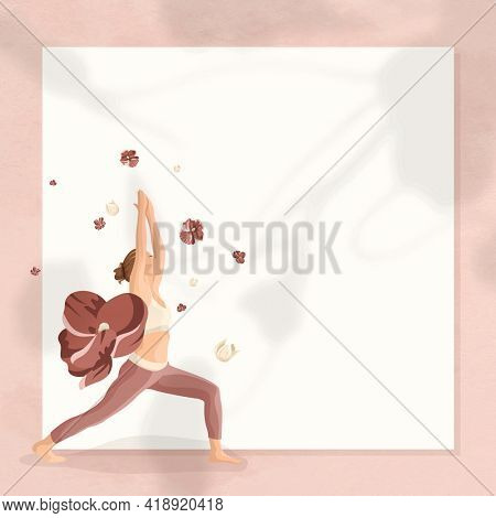 Floral yoga pose frame with woman practicing warrior pose