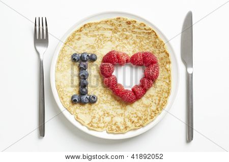Pancake With Love Heart Shape