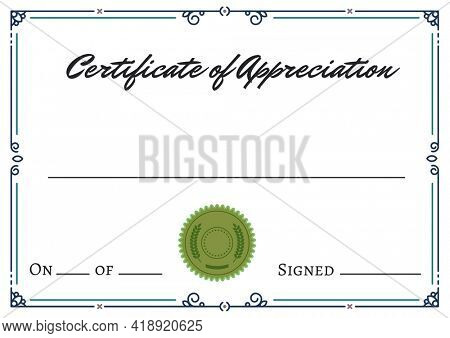 Certificate of appreciation text with blue frame and green stamp on white background. appreciation and celebration concept digitally generated image.