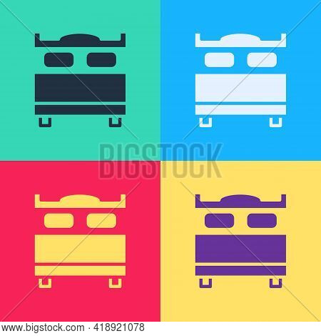 Pop Art Bedroom Icon Isolated On Color Background. Wedding, Love, Marriage Symbol. Bedroom Creative