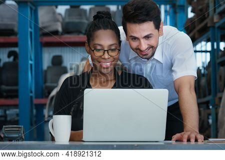 Women And Man Smiling And Working Together. Diversity Of Two People, Caucasian Business Manager Work