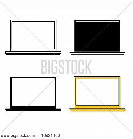 Laptop Icons. Thin Frame Notebook Or Ultrabook. Simple Flat Symbol Of Laptop Computer. Handheld Comp