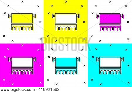 Set Towel On Hanger Icon Isolated On Color Background. Bathroom Towel Icon. Vector