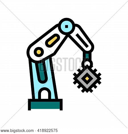 Robotic Arm Semiconductor Manufacturing Color Icon Vector. Robotic Arm Semiconductor Manufacturing S