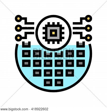 Electronic Chip Semiconductor Manufacturing Color Icon Vector. Electronic Chip Semiconductor Manufac