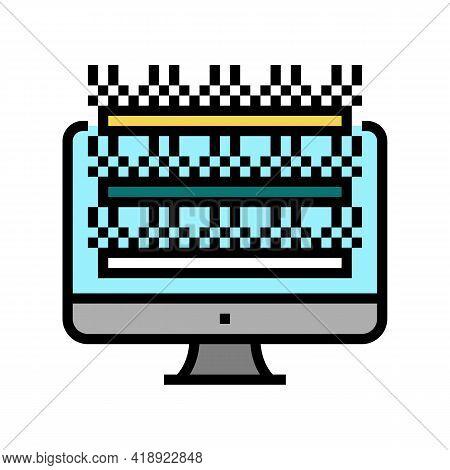 Testing Computer Screen Semiconductor Manufacturing Color Icon Vector. Testing Computer Screen Semic