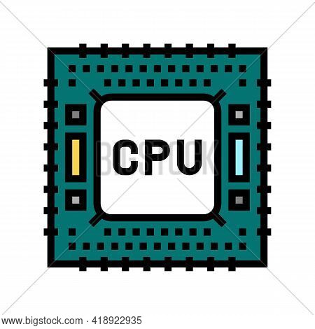Cpu Semiconductor Manufacturing Color Icon Vector. Cpu Semiconductor Manufacturing Sign. Isolated Sy