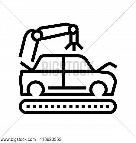 Apply Primer On Car Body Line Icon Vector. Apply Primer On Car Body Sign. Isolated Contour Symbol Bl