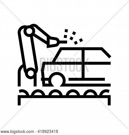 Welding Car Conveyor Line Icon Vector. Welding Car Conveyor Sign. Isolated Contour Symbol Black Illu
