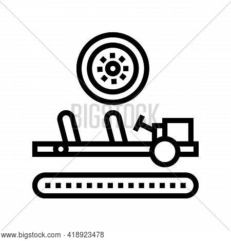 Wheels Installing Car Line Icon Vector. Wheels Installing Car Sign. Isolated Contour Symbol Black Il