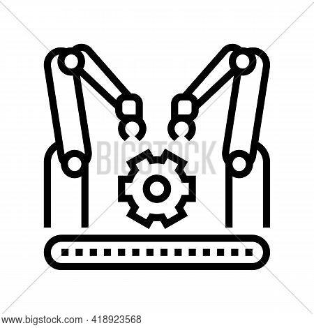 Factory Conveyor Car Line Icon Vector. Factory Conveyor Car Sign. Isolated Contour Symbol Black Illu