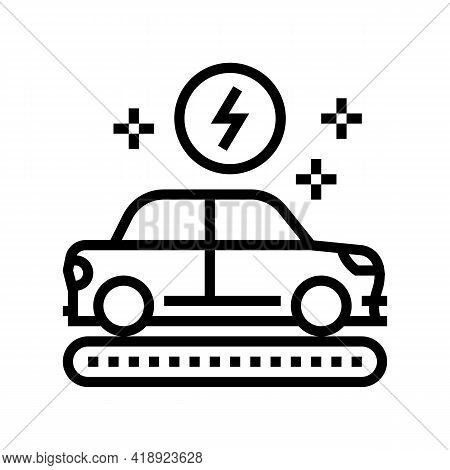 Manufacturing Electric Car Line Icon Vector. Manufacturing Electric Car Sign. Isolated Contour Symbo