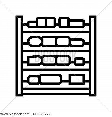 Shelves Cheese Production Line Icon Vector. Shelves Cheese Production Sign. Isolated Contour Symbol