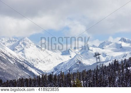 Whistler, British Columbia, Canada. Aerial View Of Peak To Peak Gondola With The Canadian Snow Cover