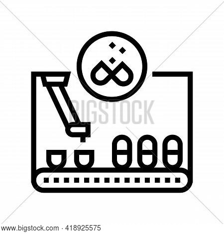 Filling Pharmaceutical Production Line Icon Vector. Filling Pharmaceutical Production Sign. Isolated