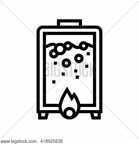 Heating Pharmaceutical Production Line Icon Vector. Heating Pharmaceutical Production Sign. Isolated