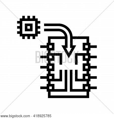 Chip Installation Semiconductor Manufacturing Line Icon Vector. Chip Installation Semiconductor Manu